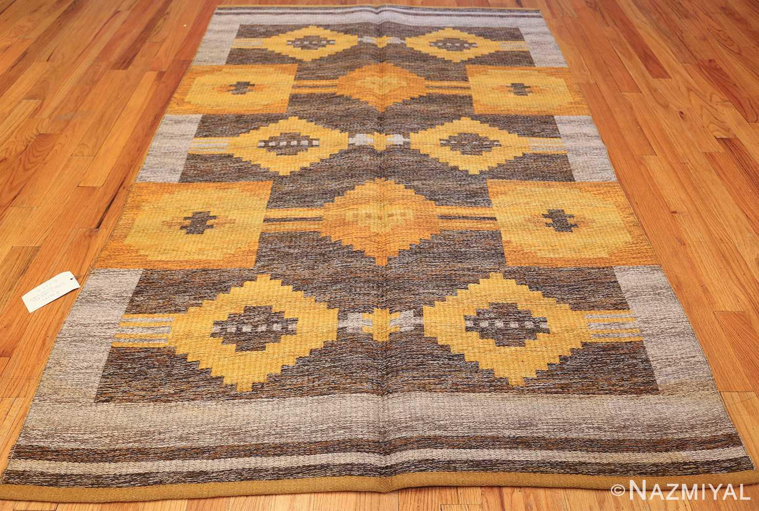 vintage double sided swedish kilim rug 48282 whole gray Nazmiyal