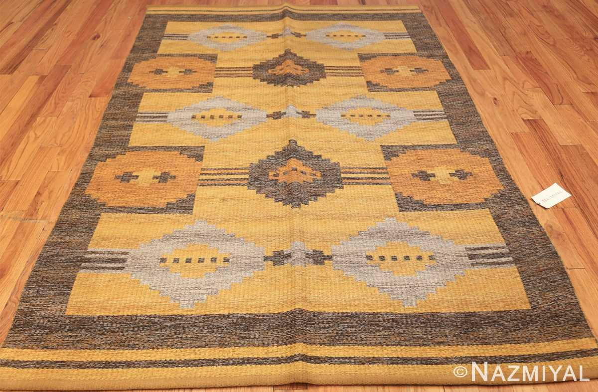 vintage double sided swedish kilim rug 48282 whole yellow Nazmiyal