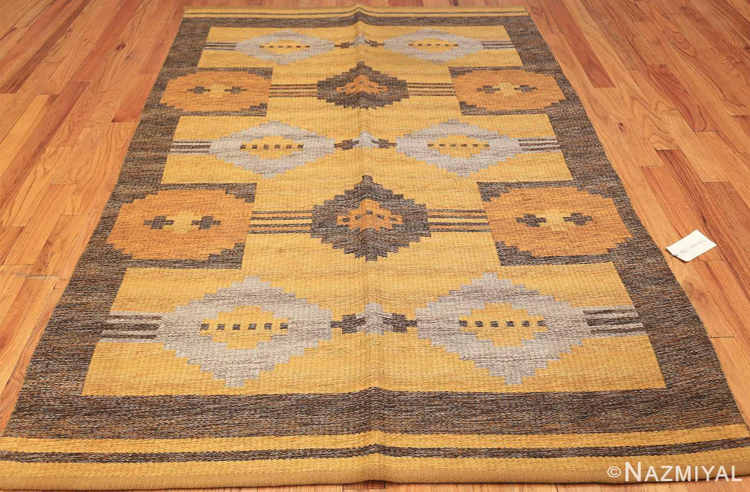 vintage double sided swedish kilim rug 48282 whole yellow Nazmiyal