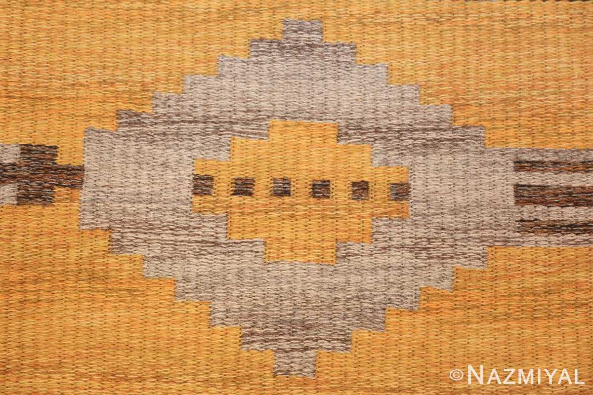 vintage double sided swedish kilim rug 48282 yellow closeup Nazmiyal