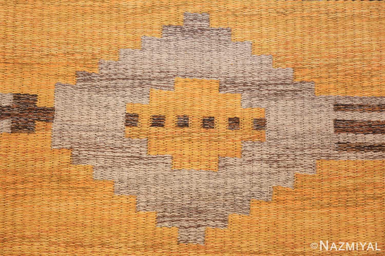 vintage double sided swedish kilim rug 48282 yellow closeup Nazmiyal