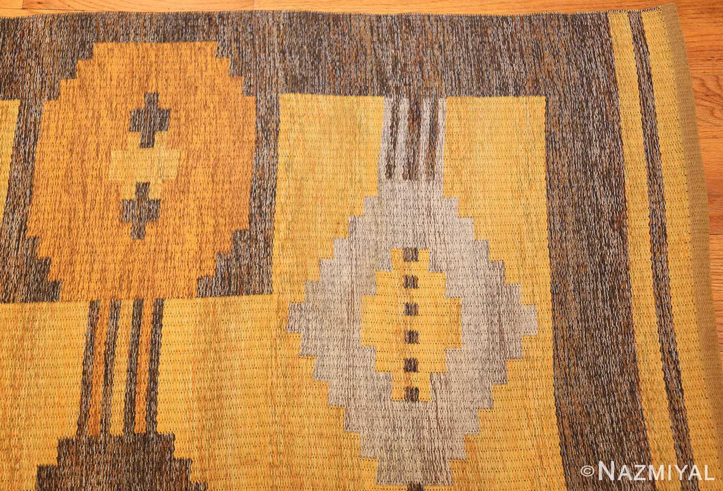 vintage double sided swedish kilim rug 48282 yellow corner Nazmiyal