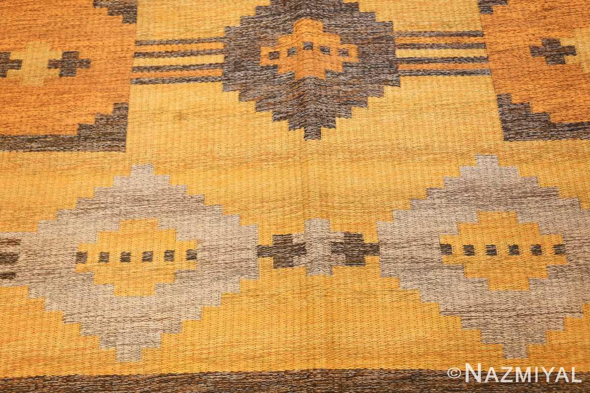vintage double sided swedish kilim rug 48282 yellow field Nazmiyal