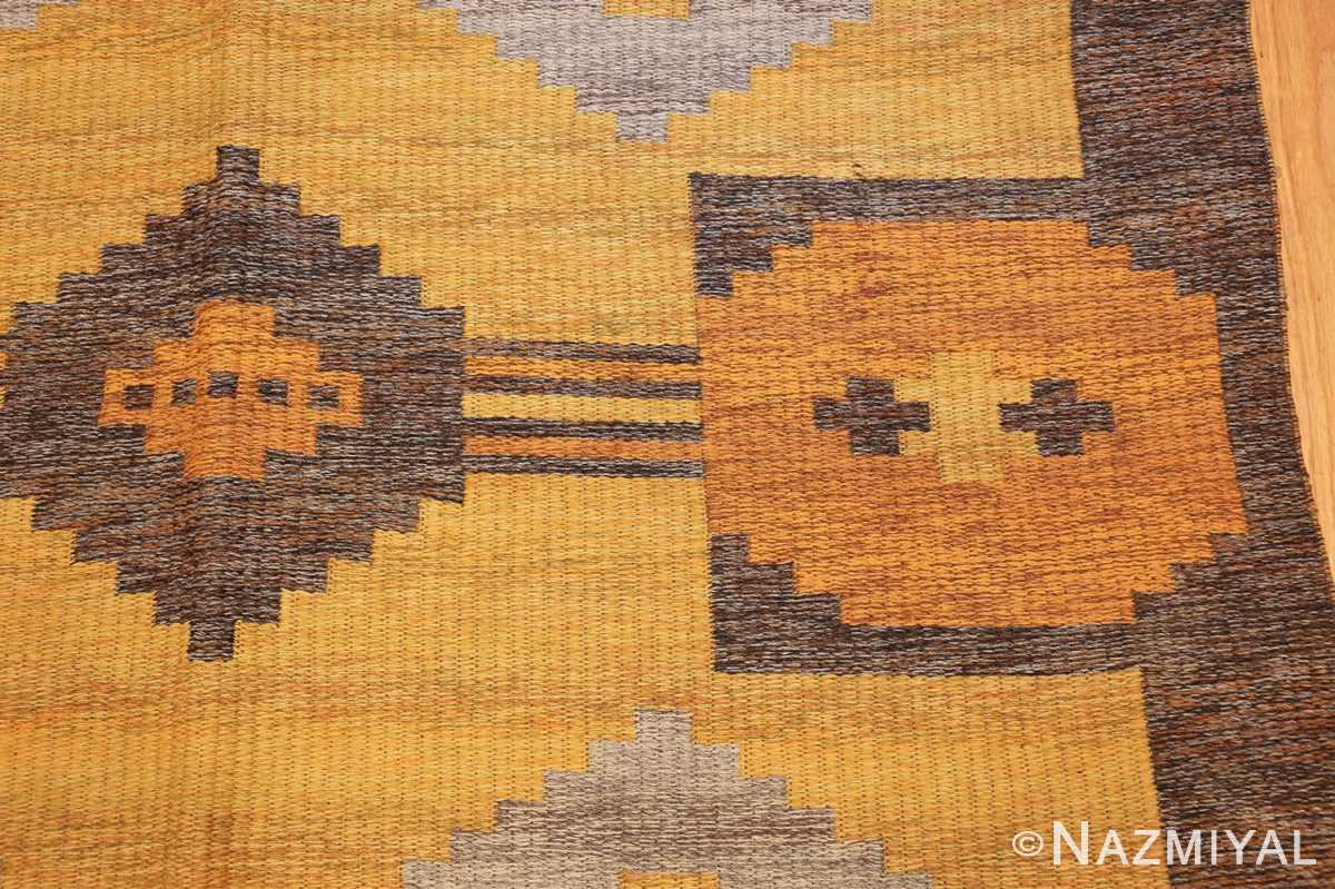 vintage double sided swedish kilim rug 48282 yellow side Nazmiyal