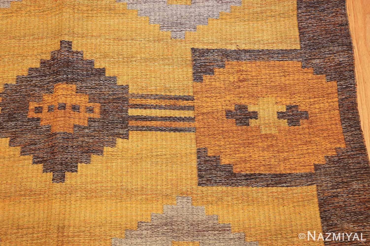 vintage double sided swedish kilim rug 48282 yellow side Nazmiyal