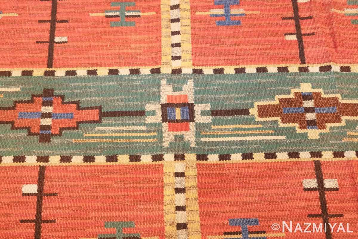 vintage scandinavian swedish kilim 48238 center Nazmiyal