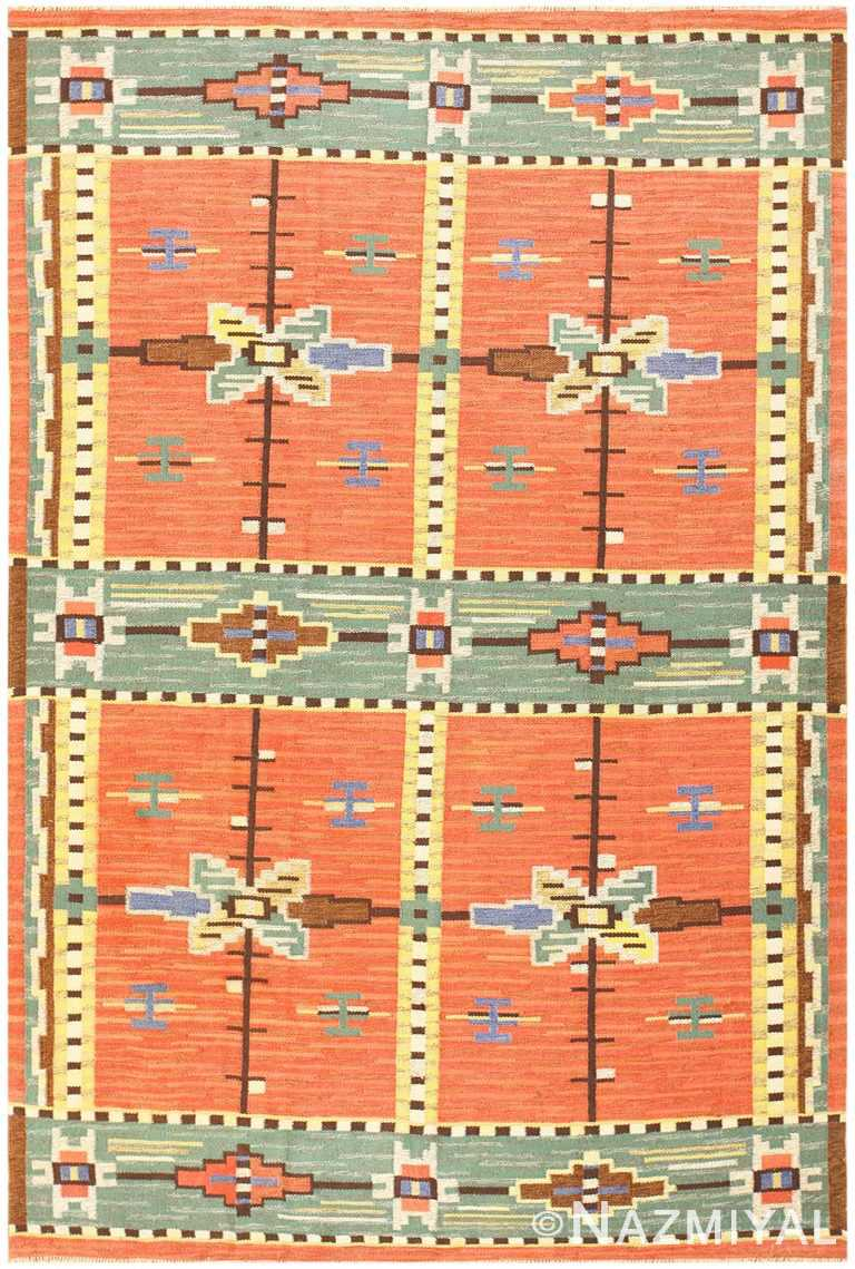 Vintage Scandinavian Swedish Kilim 48238 Detail/Large View