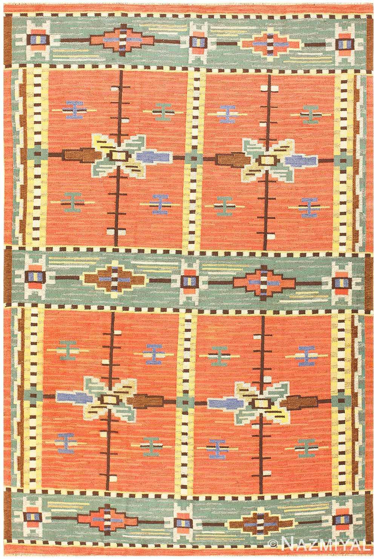 Vintage Scandinavian Swedish Kilim 48238 Detail/Large View