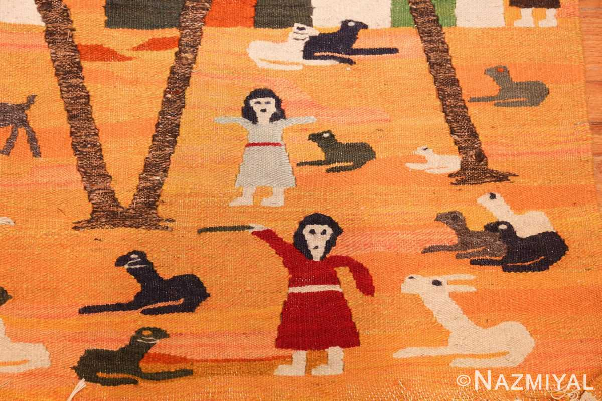 vintage swedish folk art tapestry 48251 red Nazmiyal