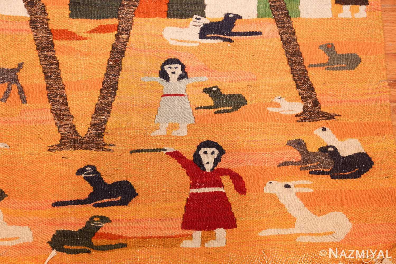vintage swedish folk art tapestry 48251 red Nazmiyal