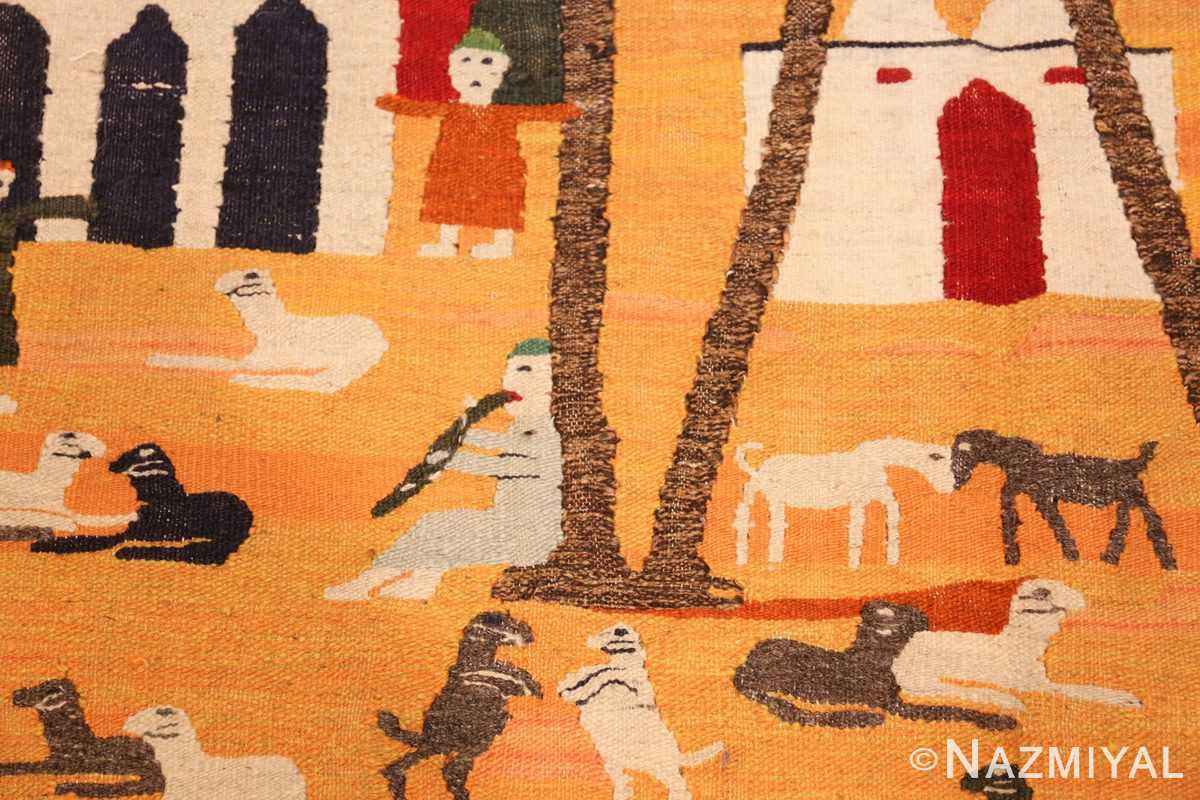 vintage swedish folk art tapestry 48251 sheep Nazmiyal