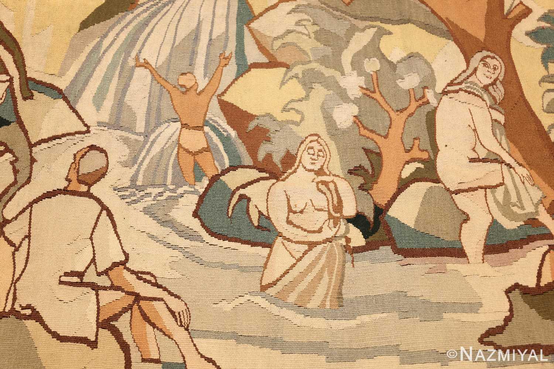 vintage swedish tapestry 48283 bathing Nazmiyal