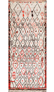 Rare White and Red Vintage Moroccan Carpet 47954