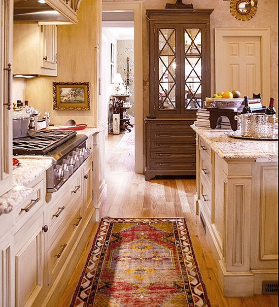 Kitchen Interior Design With Antique Tribal Runner Rug - Nazmiyal