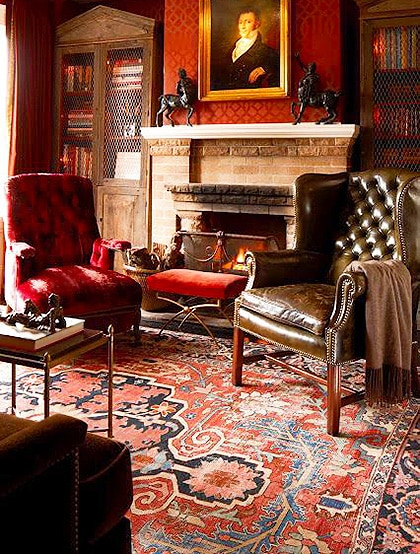 Luxurious Persian Interior Design With Antique Heriz Rug - Nazmiyal