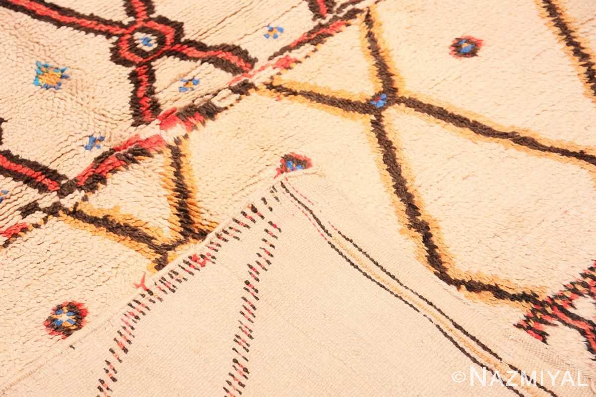 Back detail Folk Art Mid Century Vintage Tribal Moroccan rug 48354 by Nazmiyal
