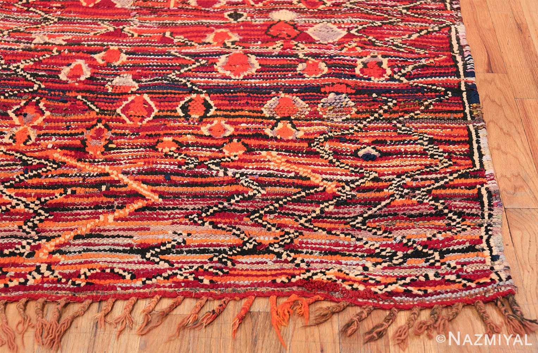 Colorful Vintage Moroccan Rug 49859 Fringe Side Corner Nazmiyal