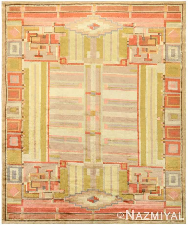 Geometric Room Size Antique French Art Deco Rug #48237 by Nazmiyal Antique Rugs