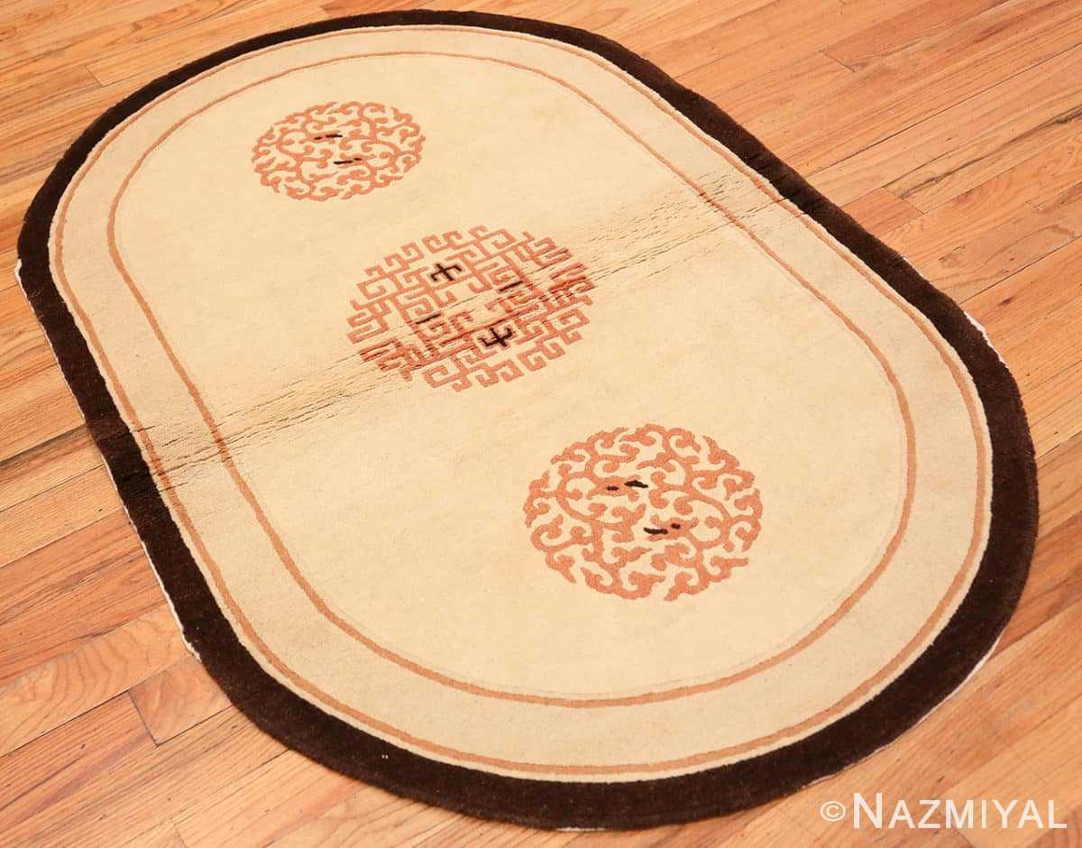 Full Chinese Round Oval Art deco rug 48013 by Nazmiyal
