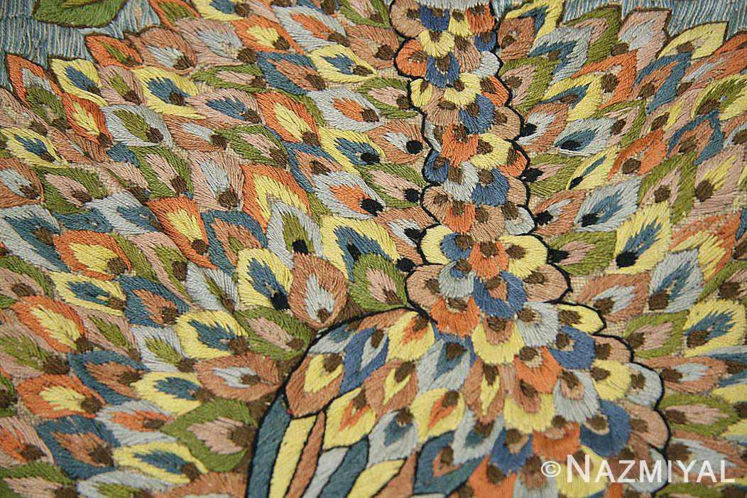 late 17th century palace size silk indian suzani embroidery 46159 feathers Nazmiyal