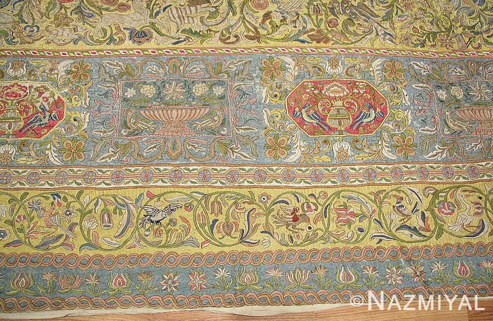 late 17th century palace size silk indian suzani embroidery 46159 vases Nazmiyal