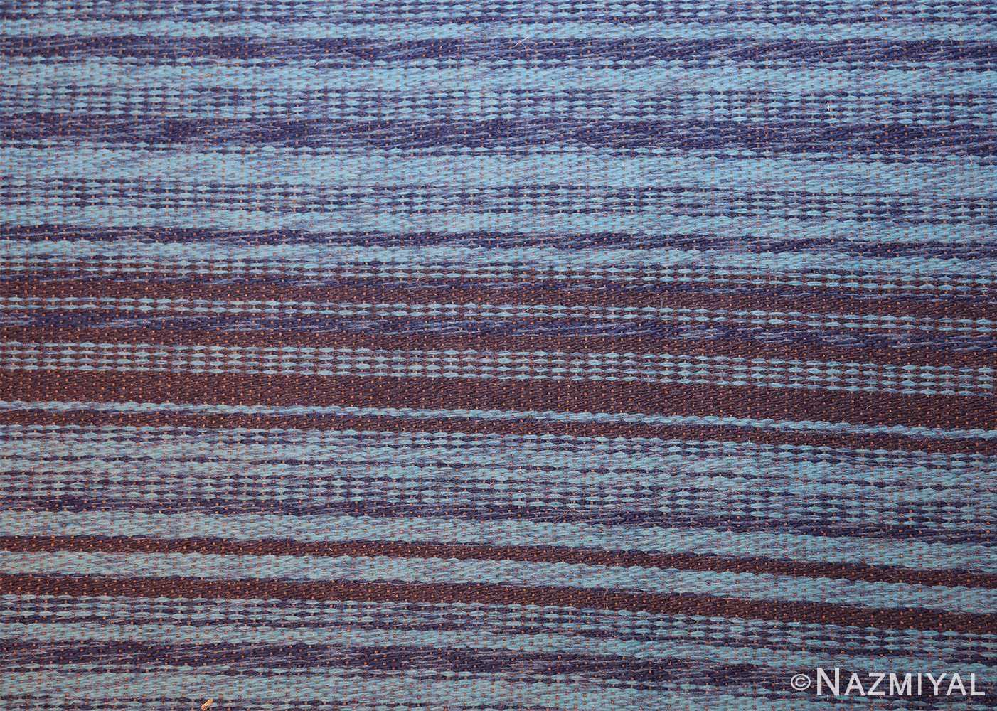 vintage double sided blue swedish kilim rug 48278 closeup blue Nazmiyal