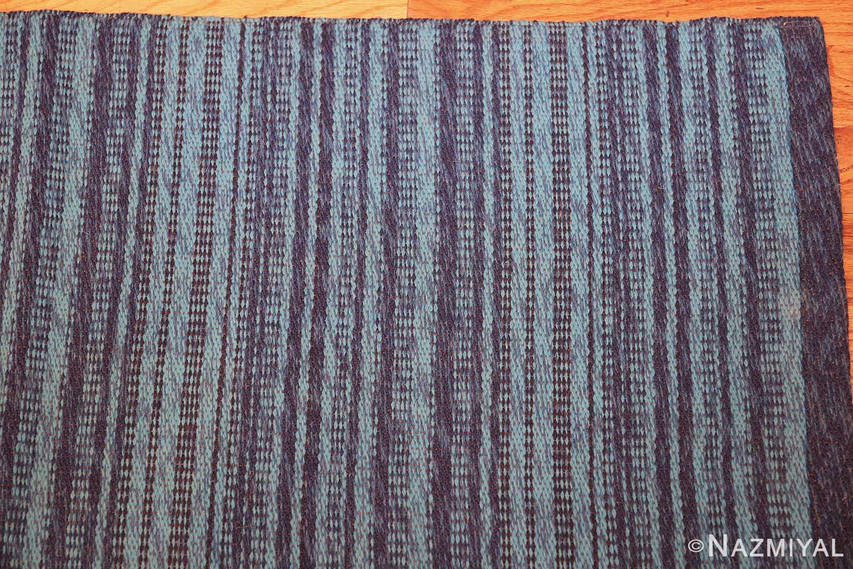 vintage double sided blue swedish kilim rug 48278 corner Nazmiyal