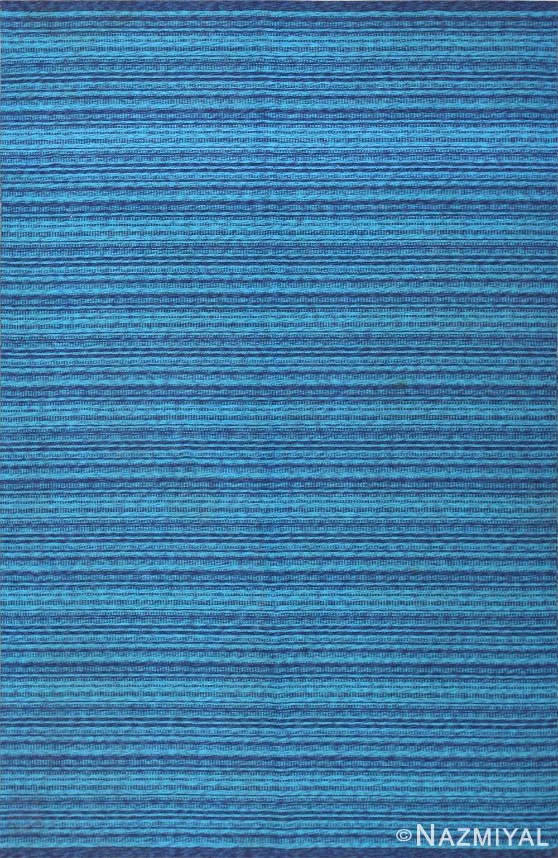 vintage double sided blue swedish kilim rug 48278 Nazmiyal