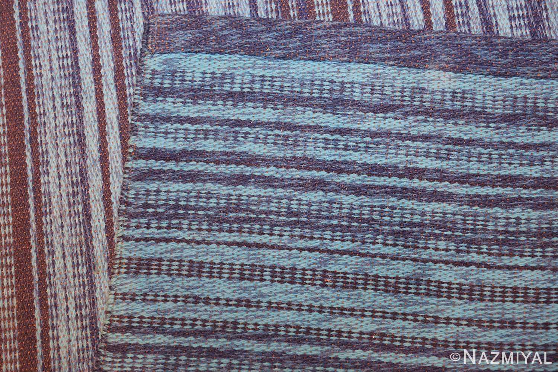 vintage double sided blue swedish kilim rug 48278 weave Nazmiyal