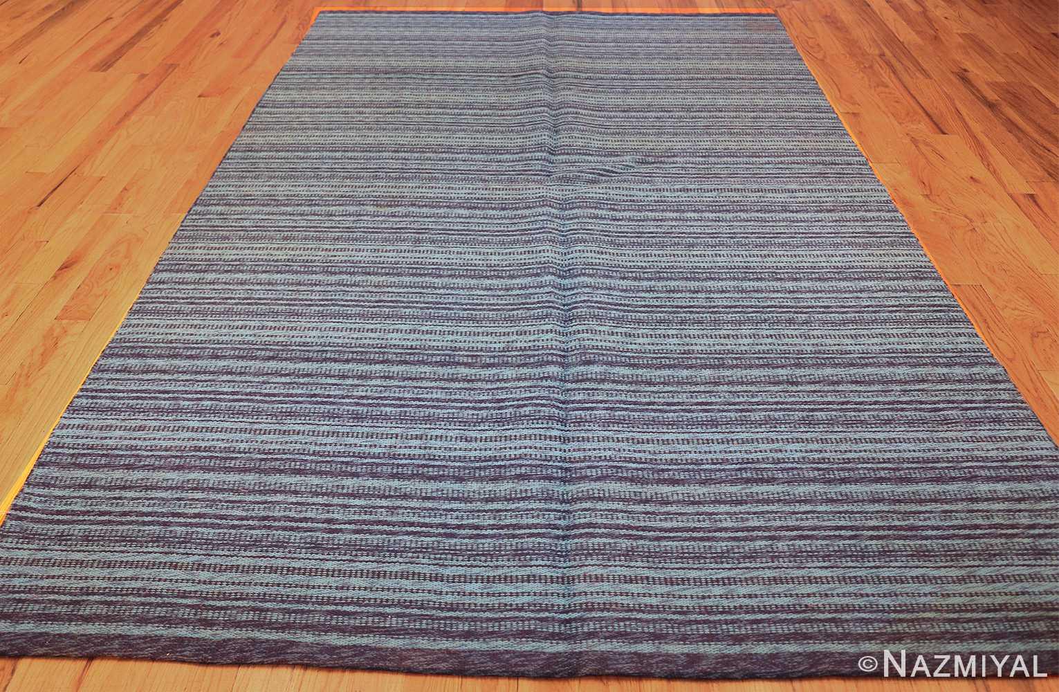 vintage double sided blue swedish kilim rug 48278 whole Nazmiyal