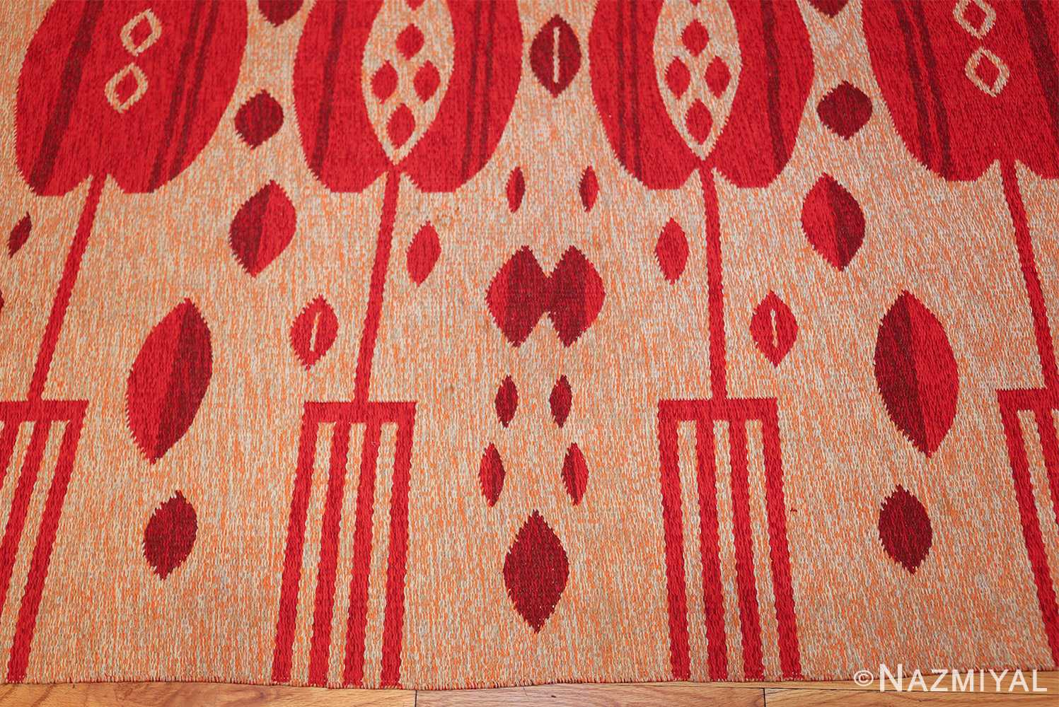 vintage double sided swedish kilim 48285 border Nazmiyal