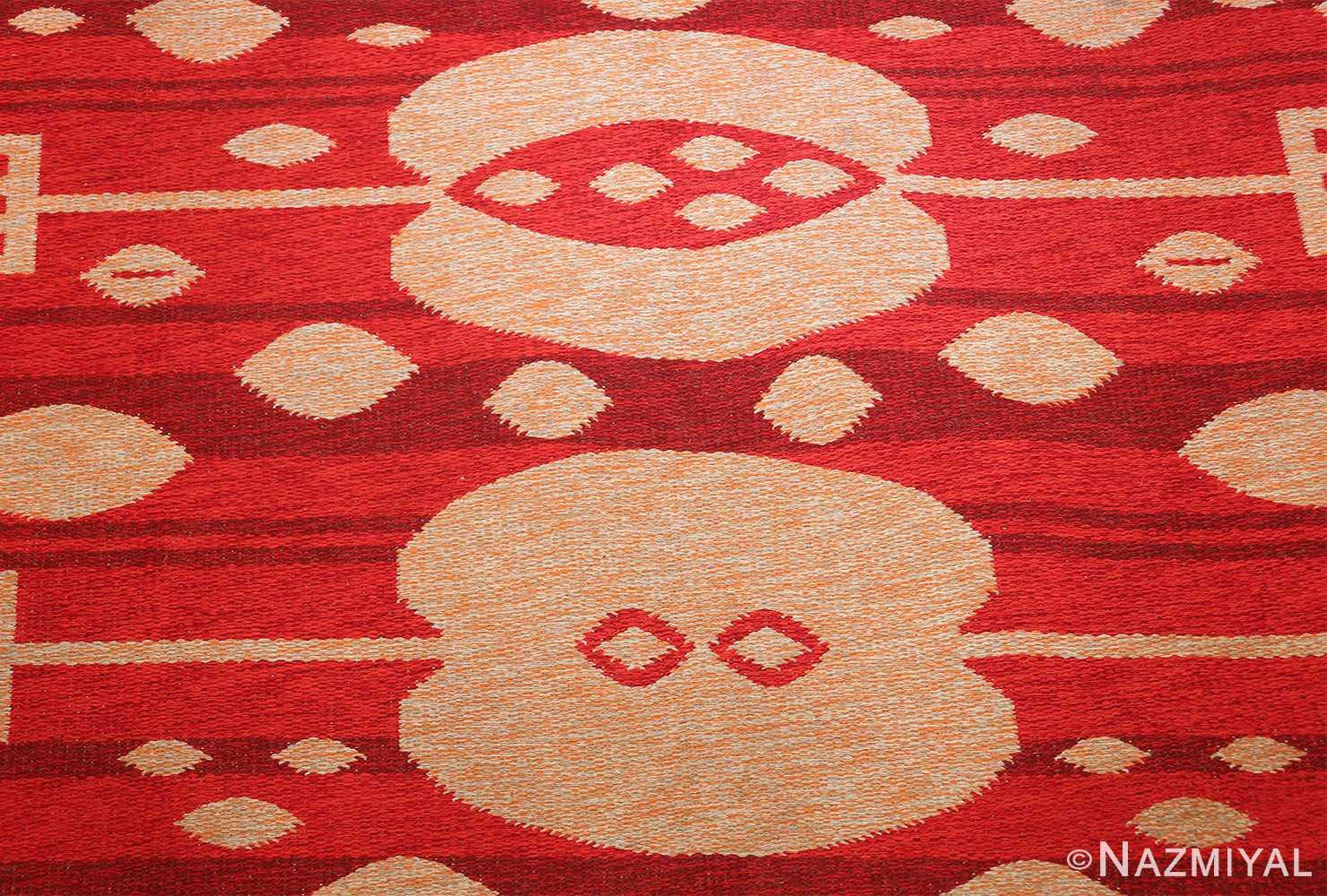 vintage double sided swedish kilim 48285 field red Nazmiyal
