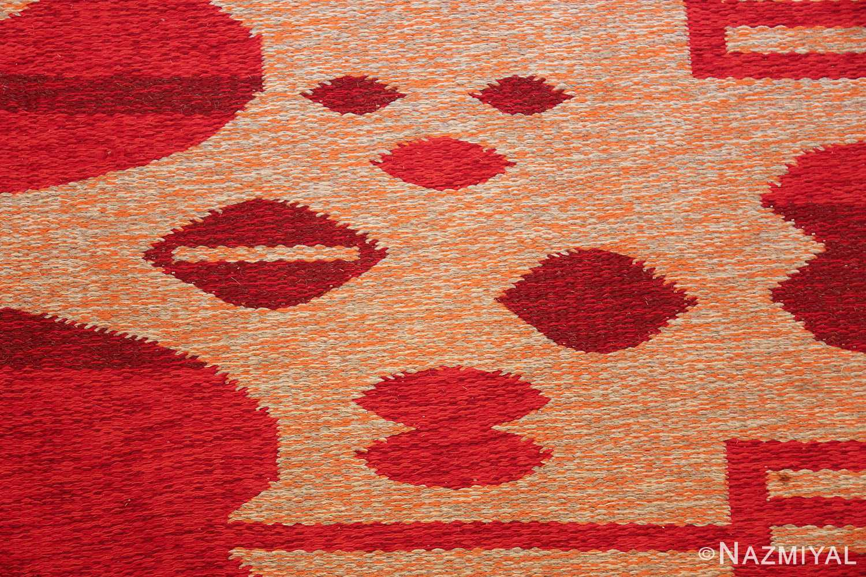 vintage double sided swedish kilim 48285 lips Nazmiyal