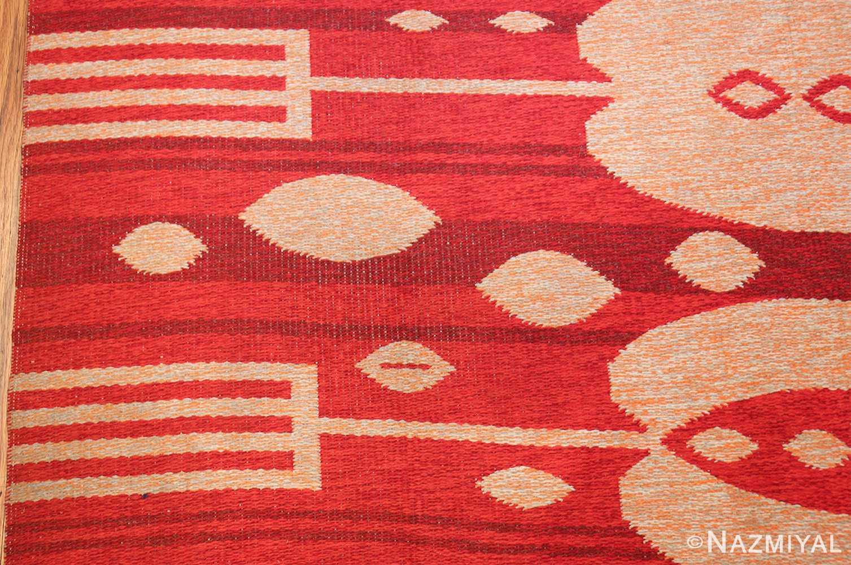 vintage double sided swedish kilim 48285 red border Nazmiyal