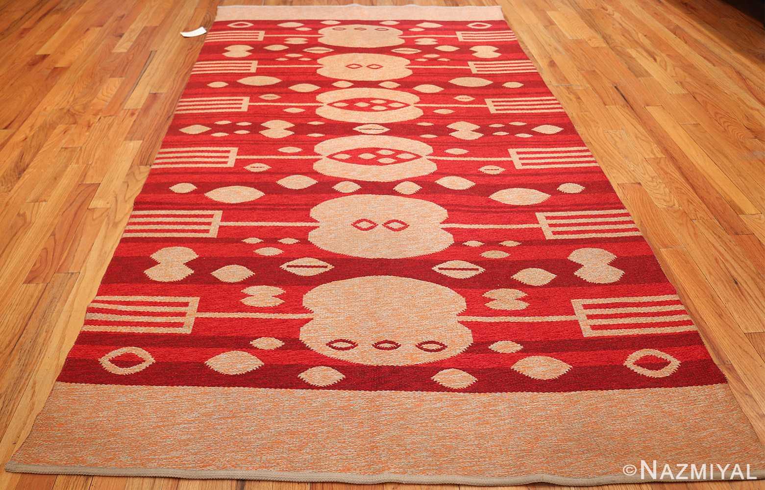 vintage double sided swedish kilim 48285 red whole Nazmiyal
