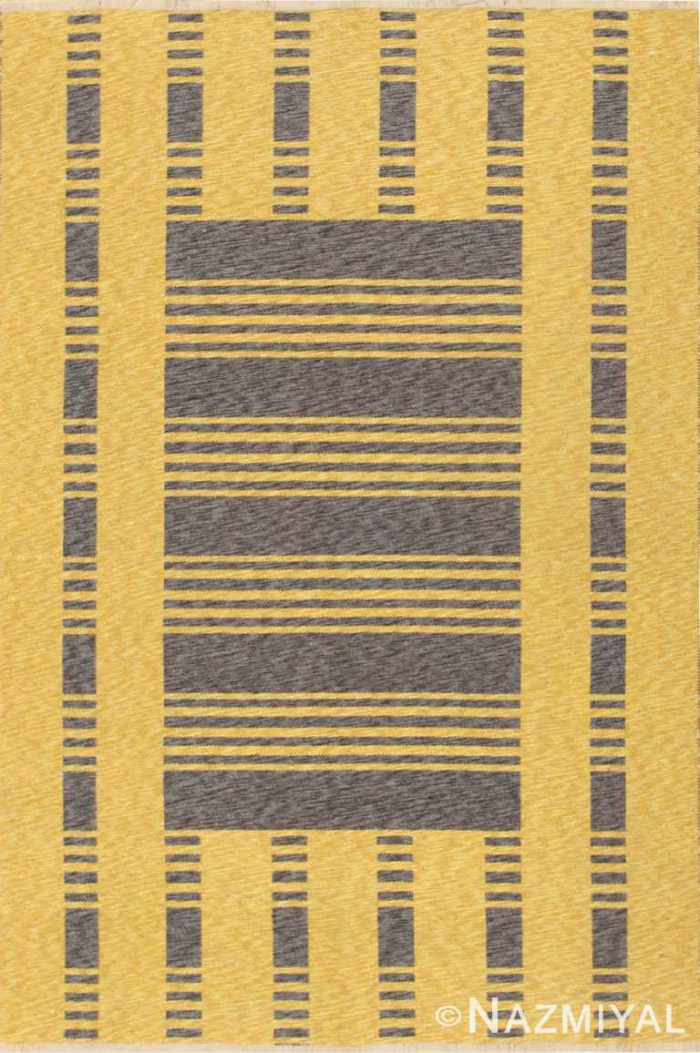 Gold and Charcoal Vintage Double Sided Swedish Kilim Reversible Rug #48291 by Nazmiyal Antique Rugs