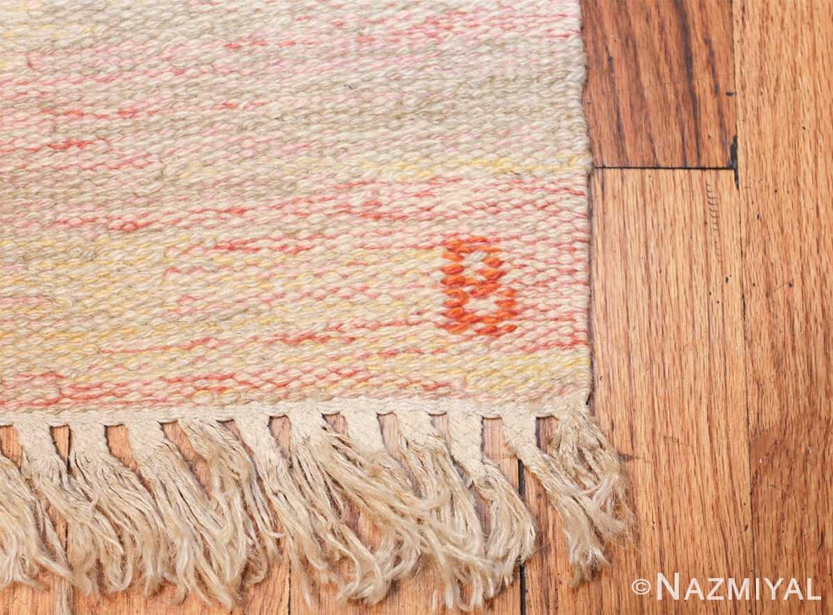 vintage scandinavian swedish kilim 48333 initials Nazmiyal