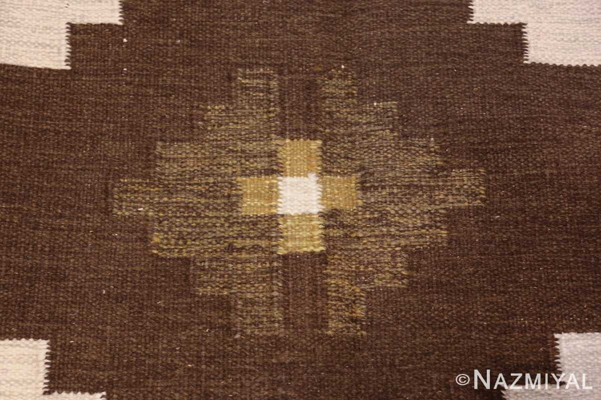 vintage swedish kilim 48286 brown Nazmiyal