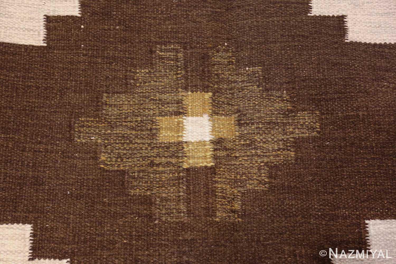 vintage swedish kilim 48286 brown Nazmiyal