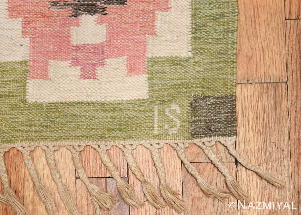 vintage swedish kilim by ingegerd silow 48335 initials Nazmiyal