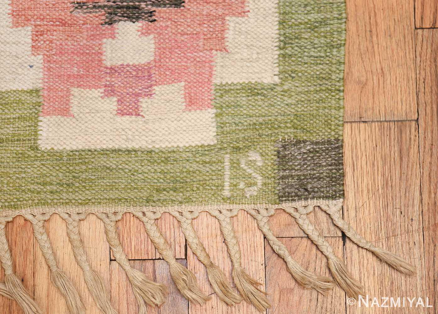vintage swedish kilim by ingegerd silow 48335 initials Nazmiyal