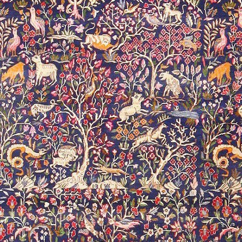 Blue Garden of Paradise Antique Persian Rug by Nazmiyal