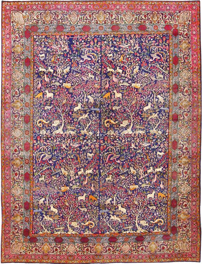 Persian Garden of Paradise Antique Carpet 48340 by nazmiyal