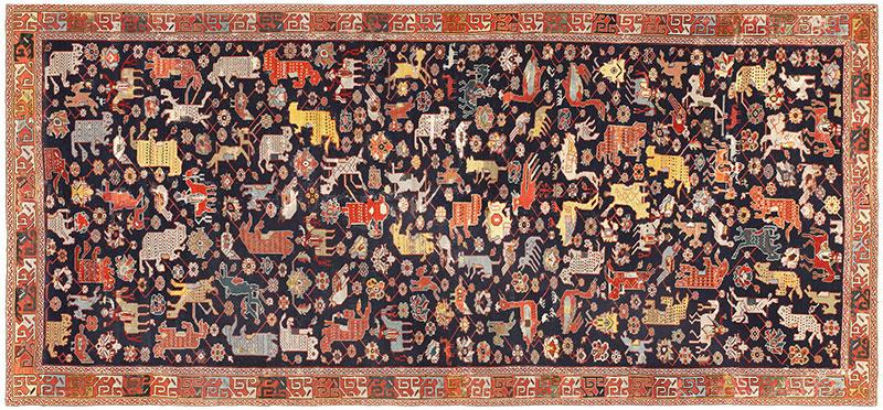 18th Century Caucasian Rug with Animal Design 48413