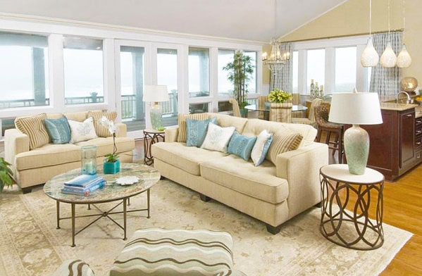 Beachy Hampton Style Neutral Living Room With Oriental Area Rug Interior Design Nazmiyal