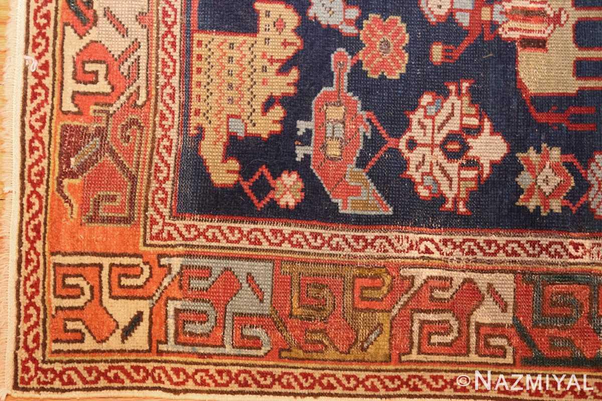 antique 18th century caucasian rug with animal design 48413 corner Nazmiyal