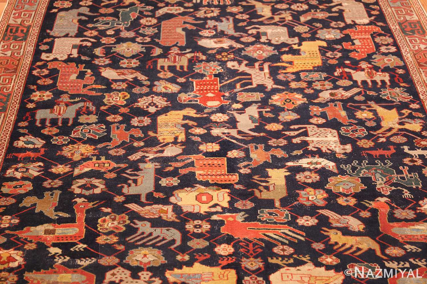 antique 18th century caucasian rug with animal design 48413 field Nazmiyal