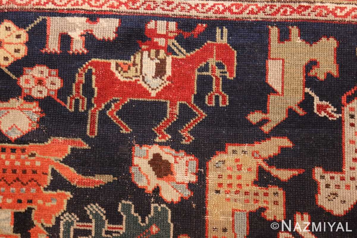 antique 18th century caucasian rug with animal design 48413 red horse Nazmiyal