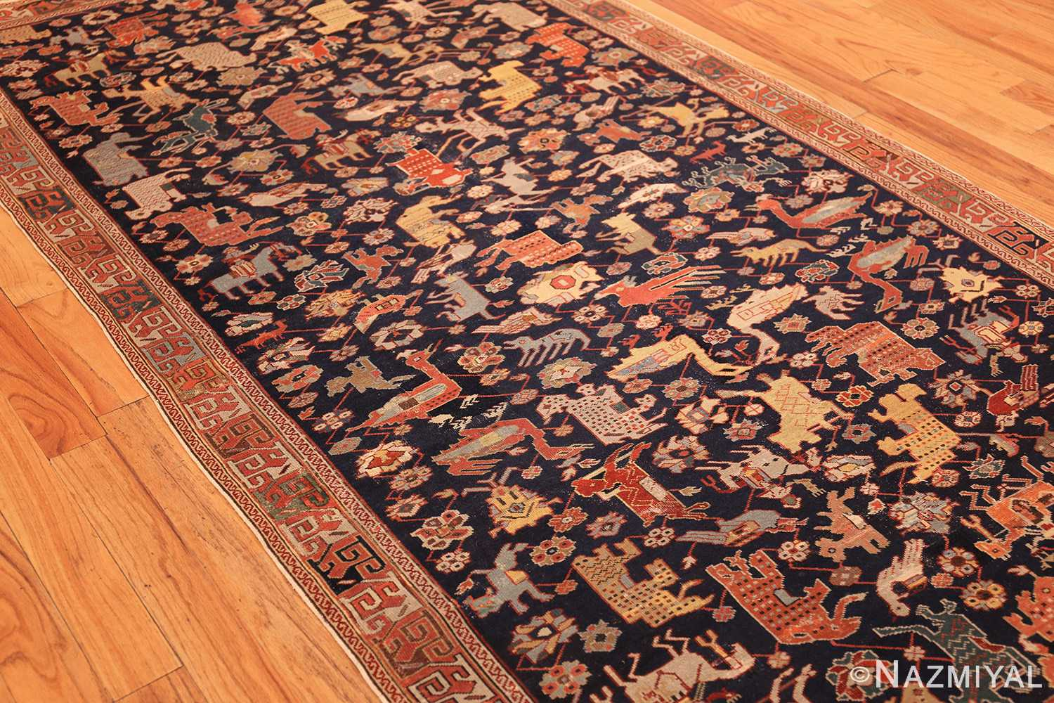 antique 18th century caucasian rug with animal design 48413 side Nazmiyal