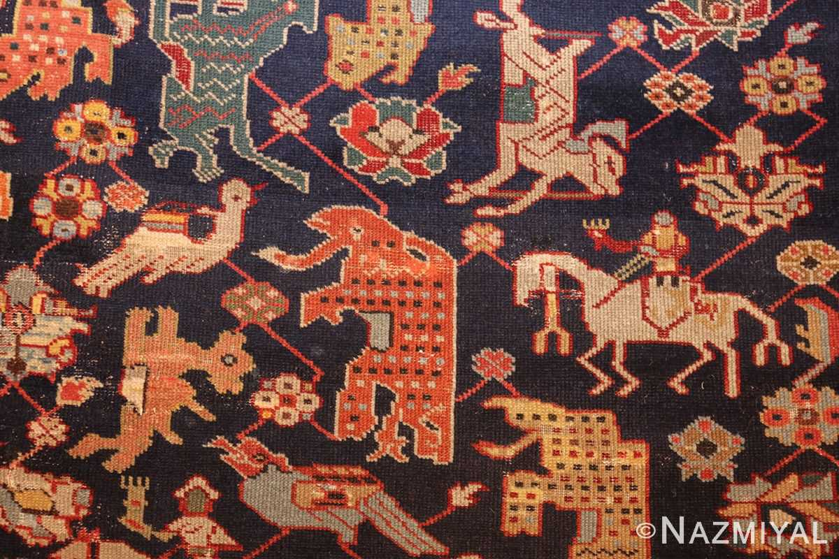 antique 18th century caucasian rug with animal design 48413 white horse Nazmiyal